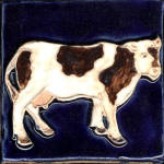 Cow standing 1 blue and white and brown