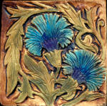 de morgan carnations blue on brown stain