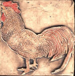 Rooster 6 in brown stain with color